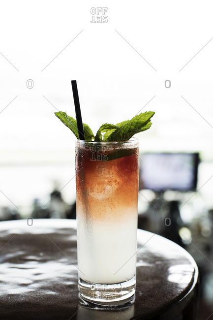 Cocktail in a tall glass garnished with mint leaves