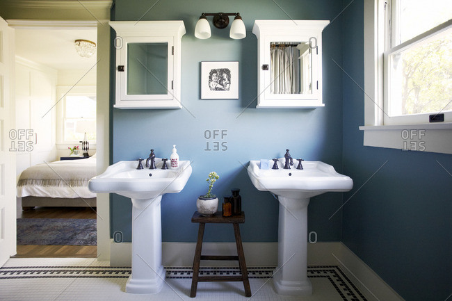 May 17, 2012: Double sinks in a blue master bathroom