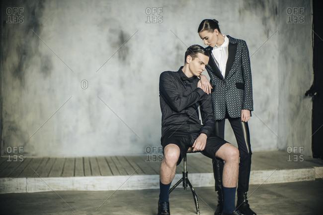 Model couple in a studio shot