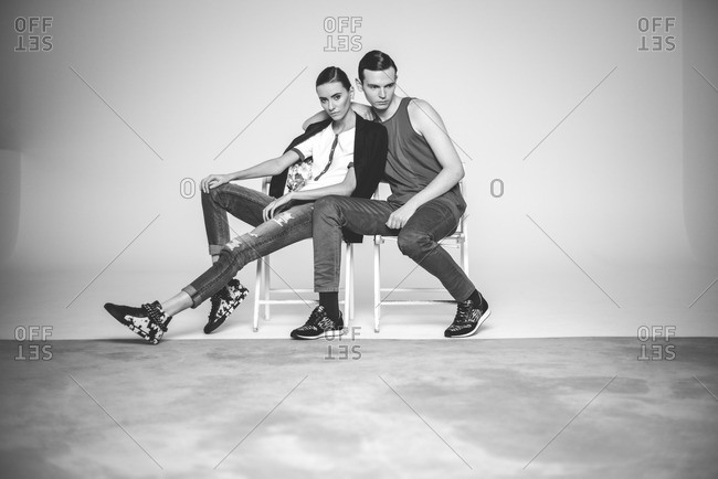 Model couple in casual clothes
