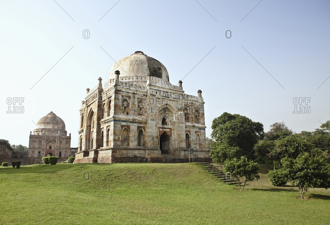 The Shish-Gumbad Tomb and the Bara-Gumbad Tomb in the background, in Lodi Gardens, New Delhi, India