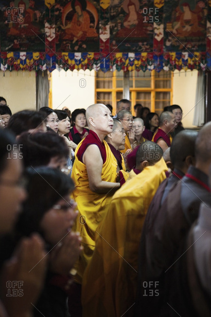McLeod Ganj, Dharamsala, India - October 3, 2008: Hundreds of Tibetan monks, nuns and other devotees gather at Tsuglagkhang, the Dalai Lama's temple
