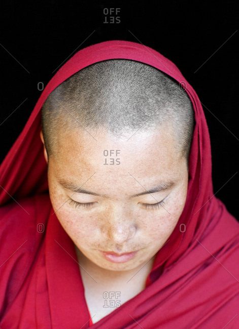 McLeod Ganj, Dharamsala, India - October 6, 2008: Portrait of a Tibetan nun/monk