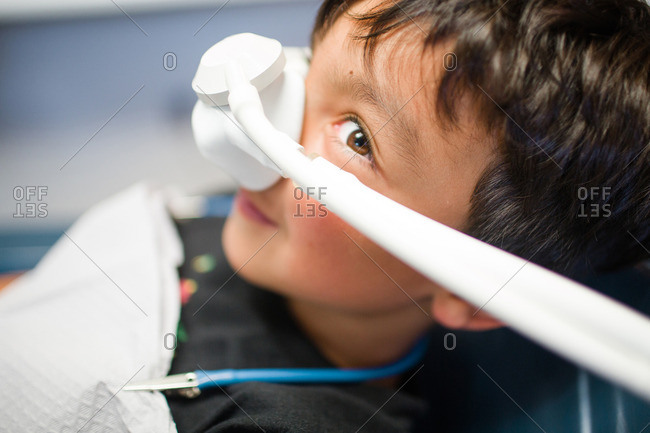 Young boy with gas for dental treatment