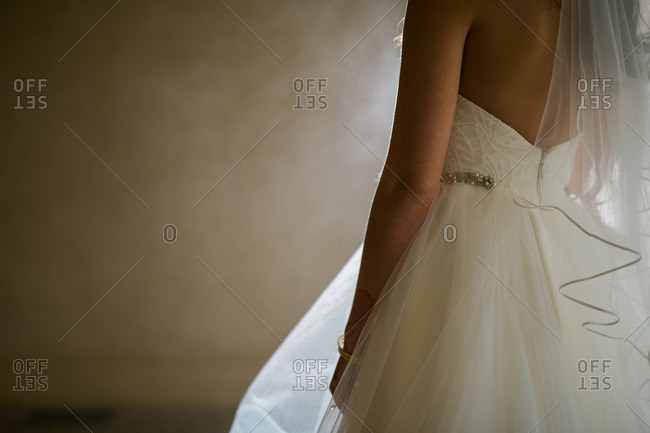 Close-up of a bride wearing a wedding dress