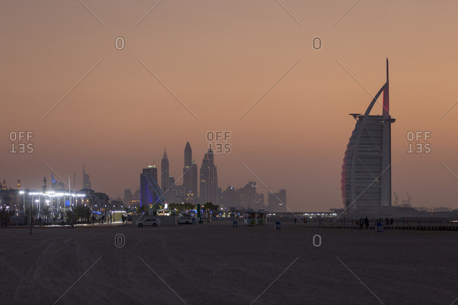 Dubai - February 8, 2016: Dubai skyline in distance