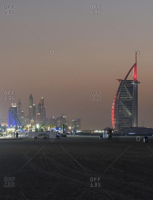 Dubai - February 8, 2016: Dubai skyline in the distance