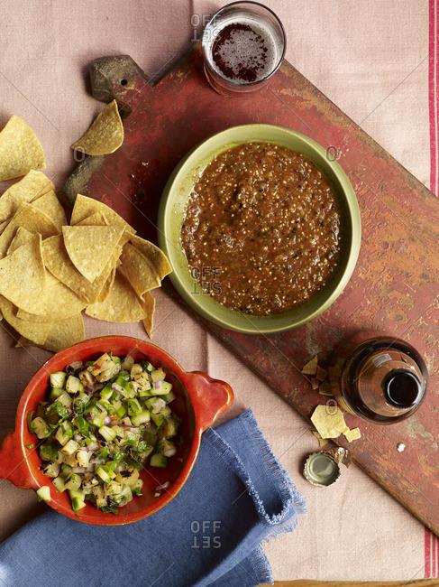 Various salsas in bowls