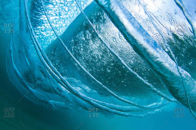 Underwater view of wave rings