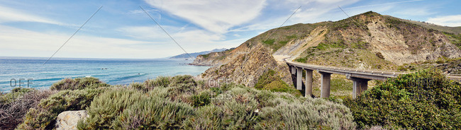 Panoramic view of bridge on highway 1, Big Sur, California, USA
