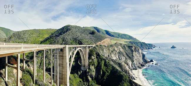 View of coast and Bexby bridge on highway 1, Big Sur, California, USA