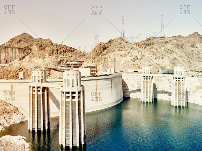 View of dam wall and water towers at Hoover Dam, Nevada, USA