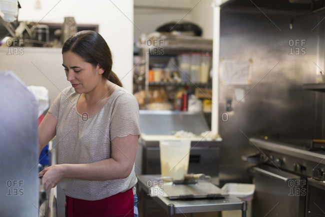 Waitress working in a caf� kitchen