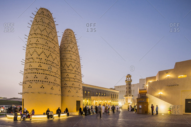 Doha, Qatar - May 16, 2015: The bird towers and the Iranian style Katara mosque