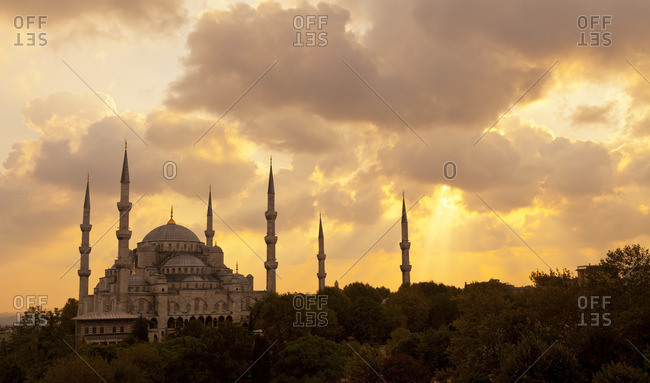 Sultan Ahmed Mosque at sunset