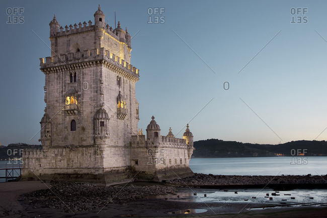 The Belem tower on the Tagus River at twilight