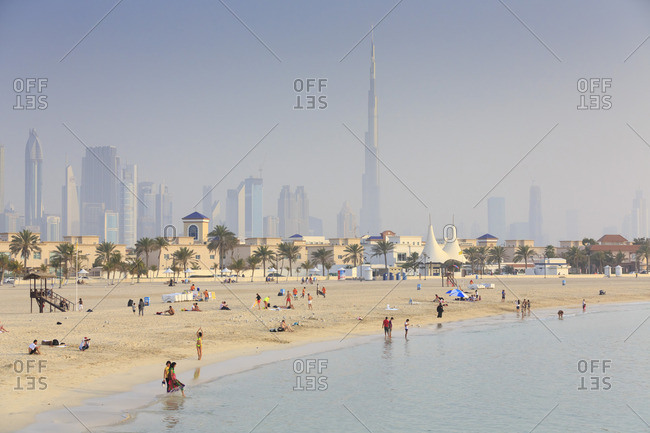 Dubai skyline and beach