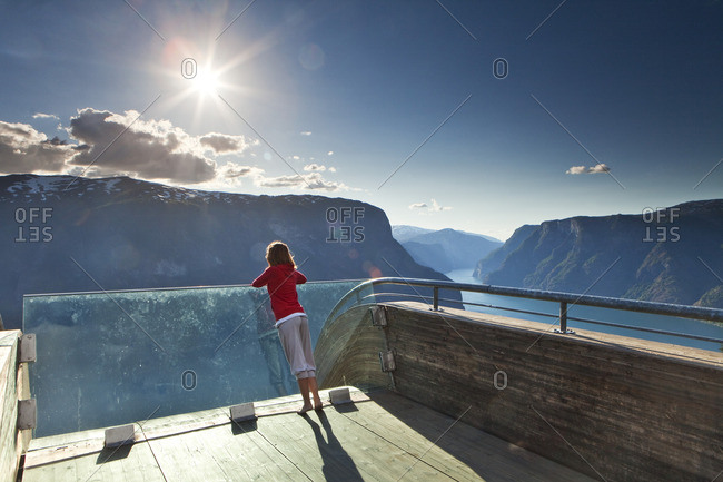 Girl on the Stegastein lookout on the Aurlandfjord