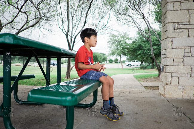 Young boy sitting on a picnic table