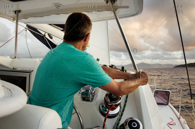 Man traveling in yacht
