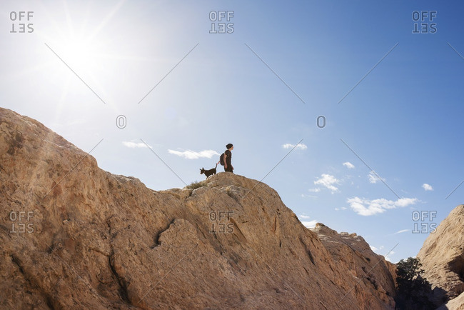 Low angle view of man with dog standing on mountain against blue sky