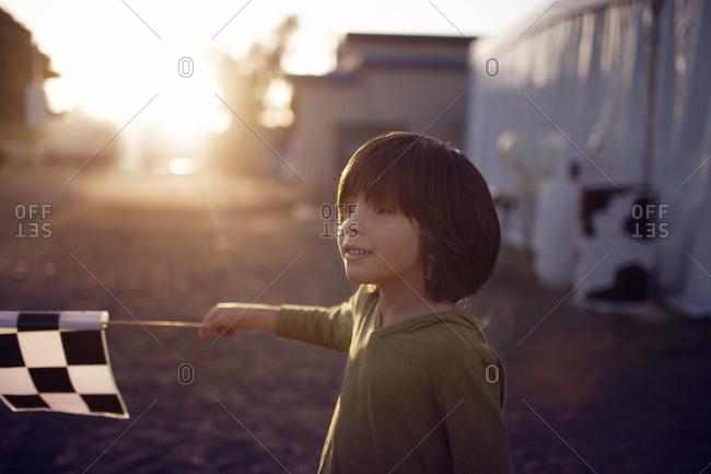Happy boy waving flag on field at amusement park
