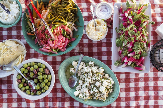 Overhead view of Antipasto served on table