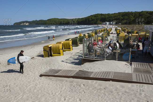 Binz, Germany - May 12, 2016: People at a seaside restaurant on the shores of the Baltic Sea