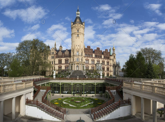 Schwerin, Germany - May 14, 2016: Schwerin Castle with balustrades and gardens in Schwerin, Germany