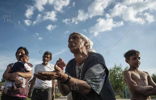 Kosovo - June 10, 2014: Gypsy family complaining about poor living conditions