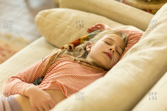 Girl napping on a couch