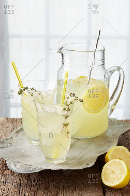 Sparkling thyme lemonade, with  fresh lemon, thyme infused  syrup and sparkling water
