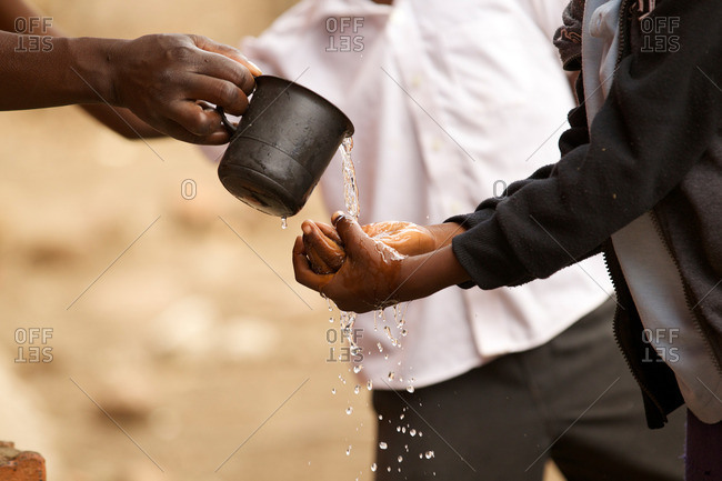 School kids washing their hands, Zambia