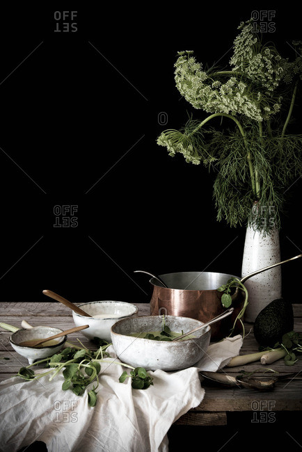 Avocado, watercress, and lemongrass soup