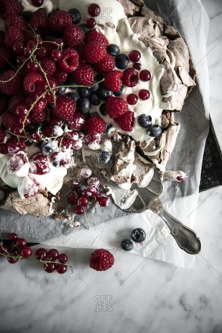 Chocolate and berry pavlova