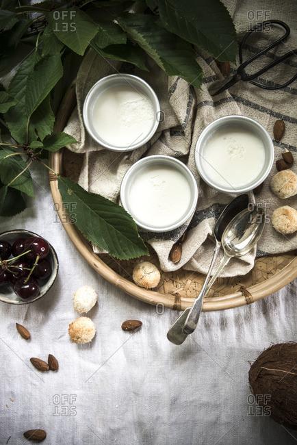 Coconut panna cotta close-up