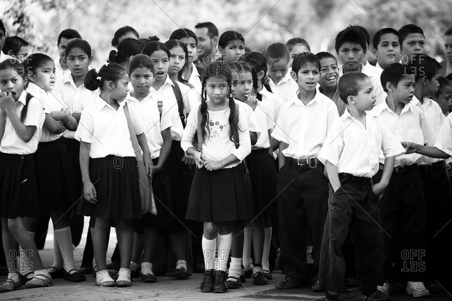 Managua, Nicaragua - April 30, 2009: Group of children in school uniforms