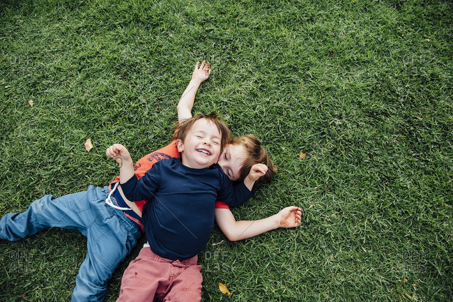Two brothers playing together on a grassy lawn