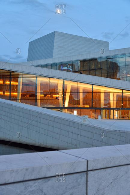 Oslo, Norway - May 1, 2015: Oslo Opera House at night, Norway