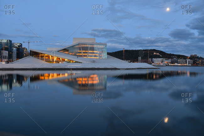 Oslo, Norway - May 1, 2015: Reflection of the Oslo Opera House at night, Norway