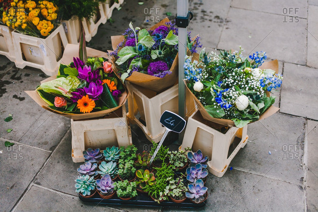 Flower market in Spitalfields, London