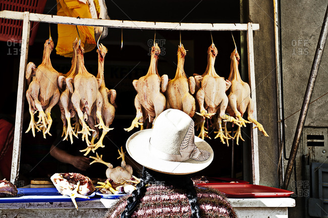 Peruvian woman at poultry market