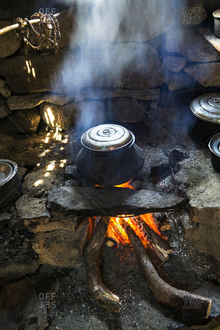 Pot cooking in fire in Nepal