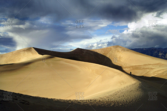 Person on sand dunes, Death Valley