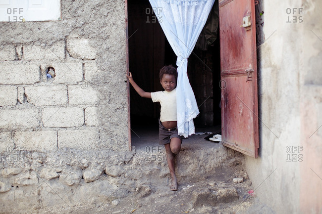 Haiti - February 20, 2011: Portrait of a young Haitian child