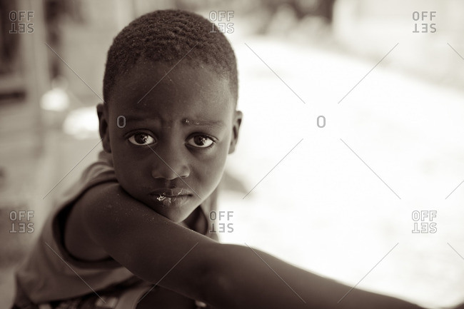 Haiti - February 20, 2011: Portrait of a young Haitian boy