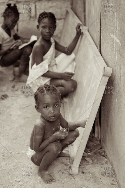 Haiti - February 23, 2011: Portrait of young Haitian children