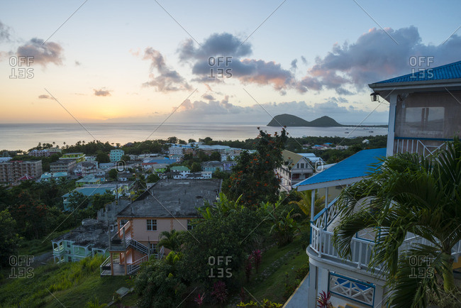 Sunset over the town of Portsmouth on the Caribbean island of Dominica