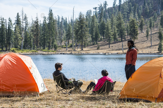 People camping at Bull Lake in the Shasta-Trinity National Forest along the Pacific Crest Trail in California