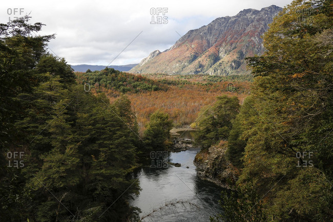 Elevated view of river in autumn landscape, Patagonia, Argentina